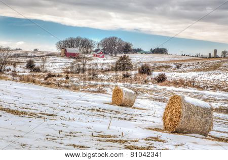 Midwest American Farm In Winter