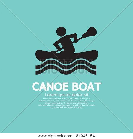 Man Row A Canoe Boat.