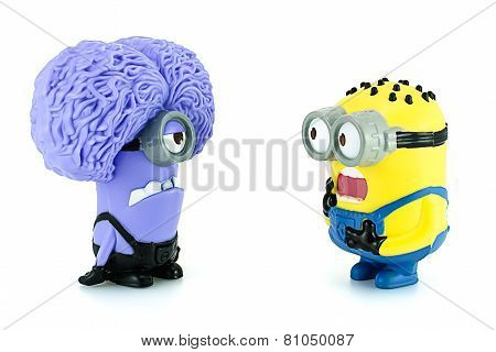 Minion Tom And Minion Purple Characters  From Despicable Me Animation Movie.
