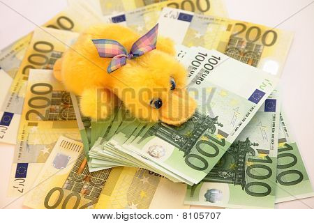 Scrooge and Euro banknotes
