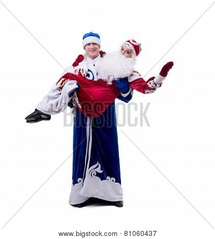 Image of young humorists in Christmas costumes