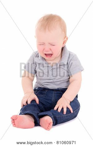 Crying Baby Boy Sitting Isolated On White