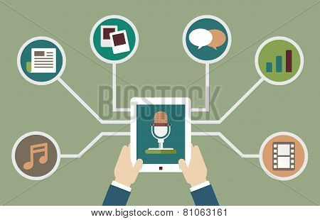 User Holding Tablet Pc With Audio Podcast With Different Formats. Subscription As Business Model