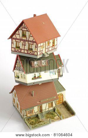 houses miniature plastic model