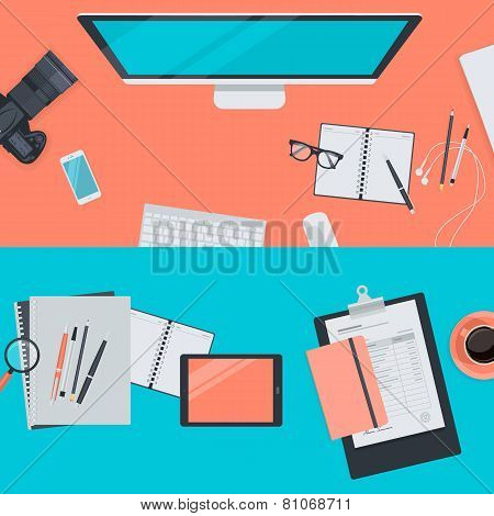 Set of flat design illustration concepts for workspace
