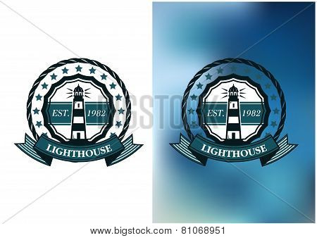 Lighthouse marine round emblem or badge