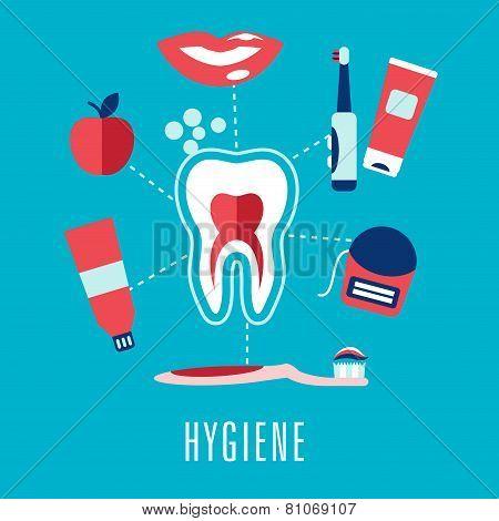 Flat dental hygiene concept in blue background