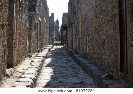 View Of Pompei Ruins With Its Typical Streets