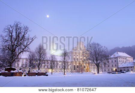 Monastery in Winter Night