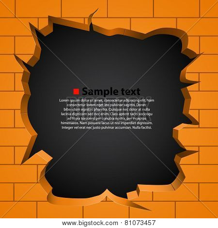 Hole In The Broken Wall. Vector