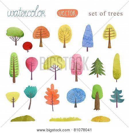 Watercolor trees vector