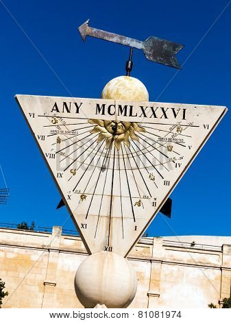 a sundial in the city of palma mallora, spain
