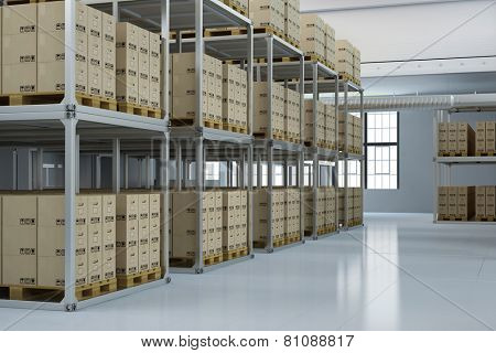 Storage warehouse of a shipping company with many boxes (3D Rendering)