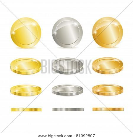 Vector Gold, silver, and copper coins