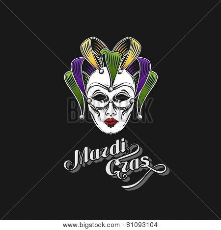 vector illustration of engraving Mardi Gras or Shrove Tuesday carnival mask emblem and ornate letter