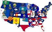 Map of 48 contiguous states of USA with regional flags superimposed into each state poster