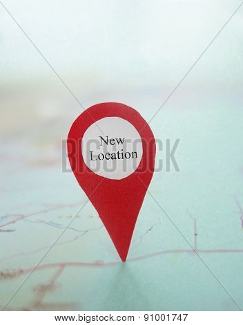 Red New Location locator on a map poster