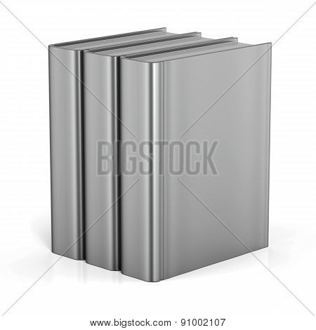 Books White Blank Empty Cover Standing 3 Three Textbook