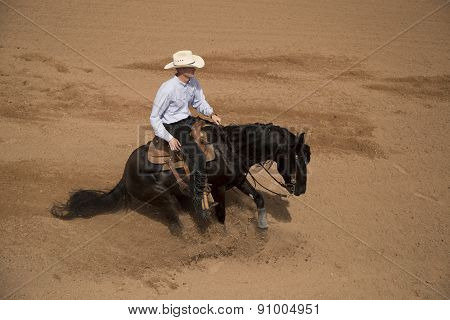 Cowboy Sliding To A Stop On A Black Horse