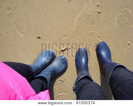 two people on a beach