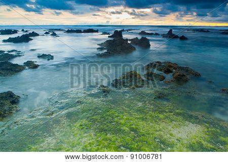 Sunset in Rancabuaya beach West Java Indonesia