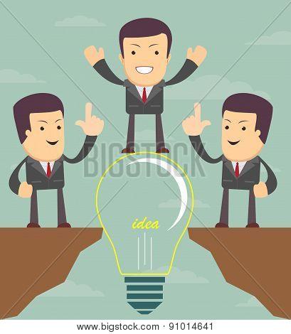Businessman on a bulb cross an abyss. Vector