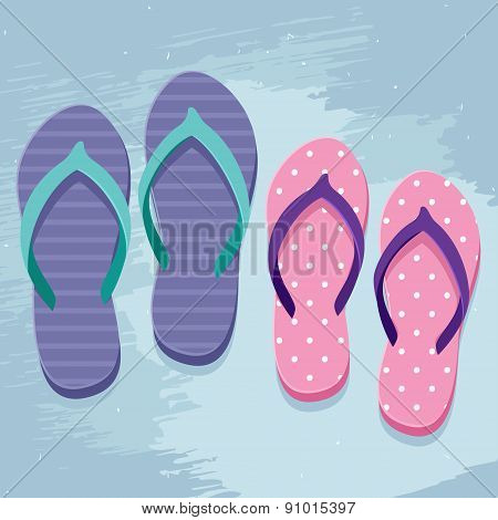 Pair of man's and women's flip flops illustration in flat design style on grunge background poster