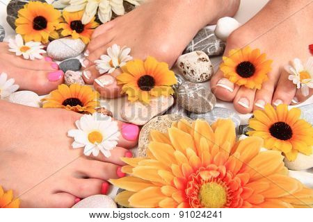 Pedicure Nails, Feet And Flowers