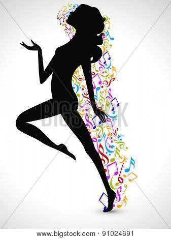 Silhouette of a dancing girl with colorful musical notes on shiny grey background.