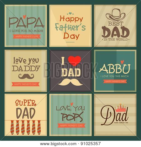 Greeting cards set for father's day celebrations with vintage style.