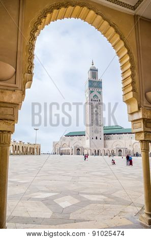 CASABLANCA, MOROCCO, APRIL 2, 2015: Hassan II Mosque or Grande Mosquee Hassan II - view from arcades