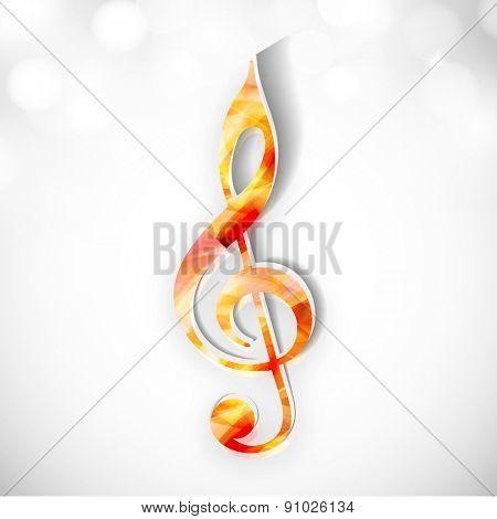 Colorful musical sign on shiny stylish background.