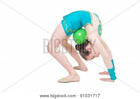 Little girl gymnast with green ball. Isolated on white background. Sporting exercise, stretch, flexibility, aerobics poster