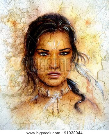 Painting Young Indian Woman Wearing A Feather, Eye Cont, Crackle Background