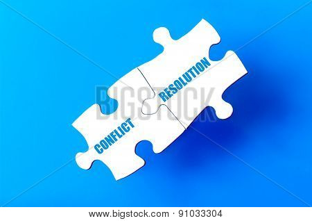 Connected Puzzle Pieces With Words Conflict And Resolution