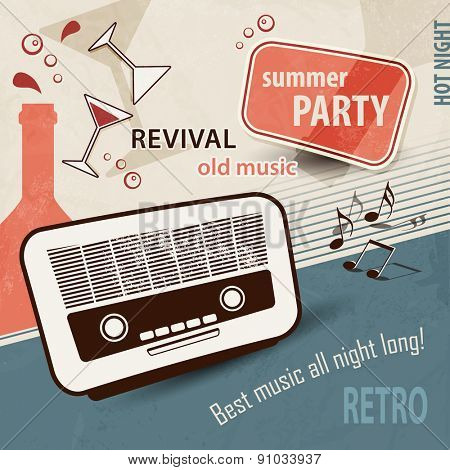 50s retro background - music poster with old radio - party invitation poster