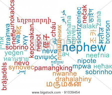Background concept wordcloud multilanguage international many language illustration of nephew