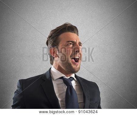 Pissed businessman shout
