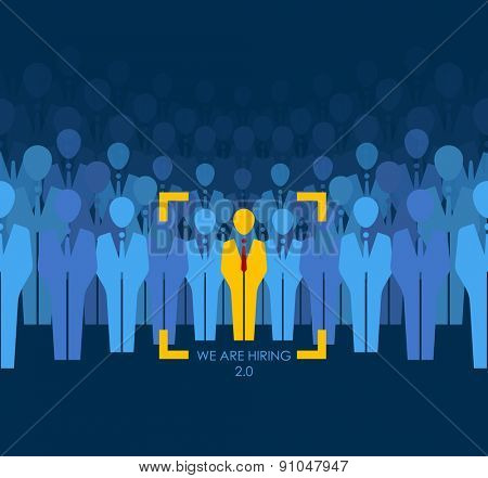 ?hoice best suited employee. Yellow human with red tie sign as a symbol of chosen one by recruiter. HR job seeking concepts. The chosen people. White crow, black sheep - an exception to the masses