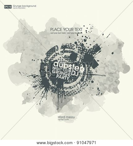 Poster grunge background vector. Grunge print for t-shirt. Abstract dirt backgrounds texture. Grunge banner with an inky dribble strip with copy space. Abstract background for party show