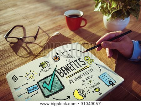 Benefits Gain Profit Income Earning Office Working Concept