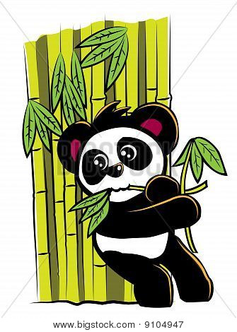 An illustration of a panda eating bamboo leaves while leaning on a wall of bamboos.