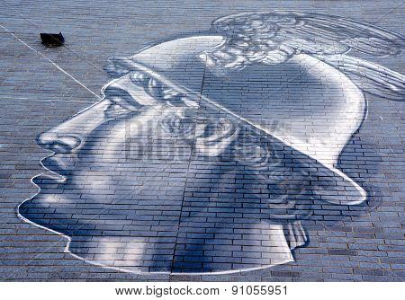 Street art Mercury roman god
