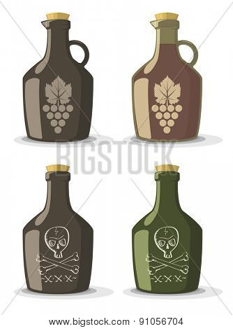 Vector set of bottles for wine or rum in vintage style