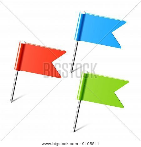 Set of color flag pins