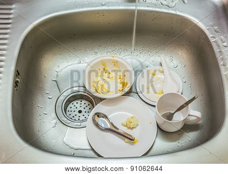 Kitchen Conceptual Image. Dirty Sink With Many Dirty Dishes.