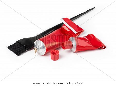 Hairdresser tools closeup on white background with clipping path poster