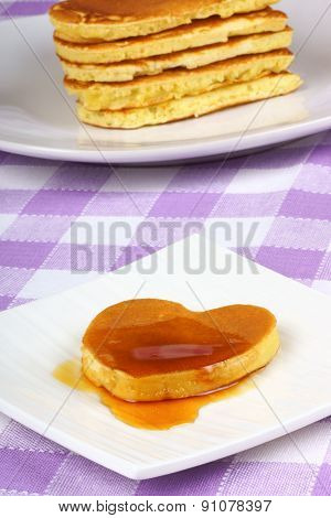Mini Heart-shaped Pancake With Syrup
