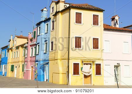 Colorful Houses On Burano Island, Venice, Italy