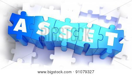 Asset - White Word on Blue Puzzles on White Background. 3D Illustration. poster